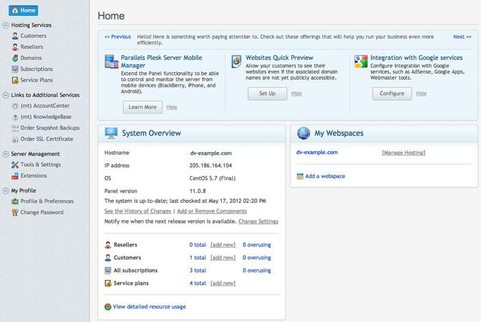 Plesk 11 Server Administration Panel