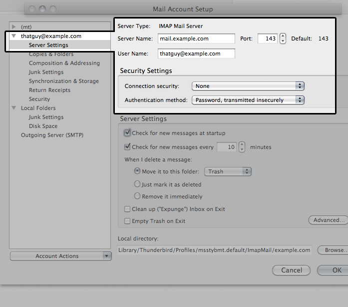 How can I configure email in Thunderbird? - Media Temple