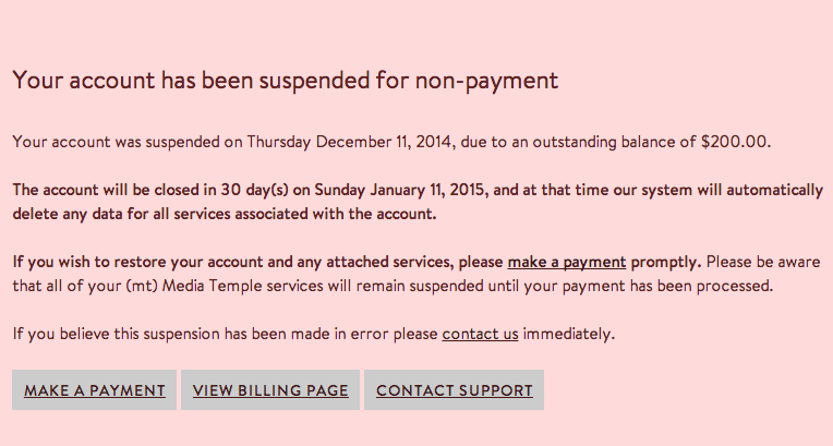Why Is My Account Suspended Media Temple