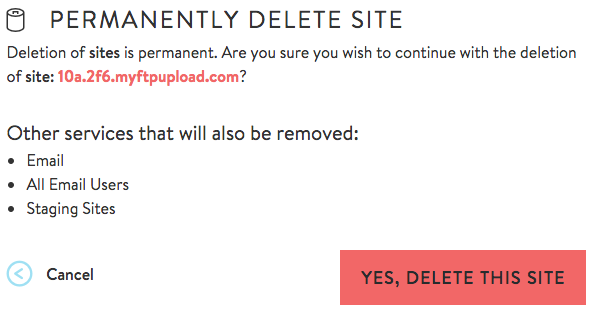 how to permanently delete a wix site
