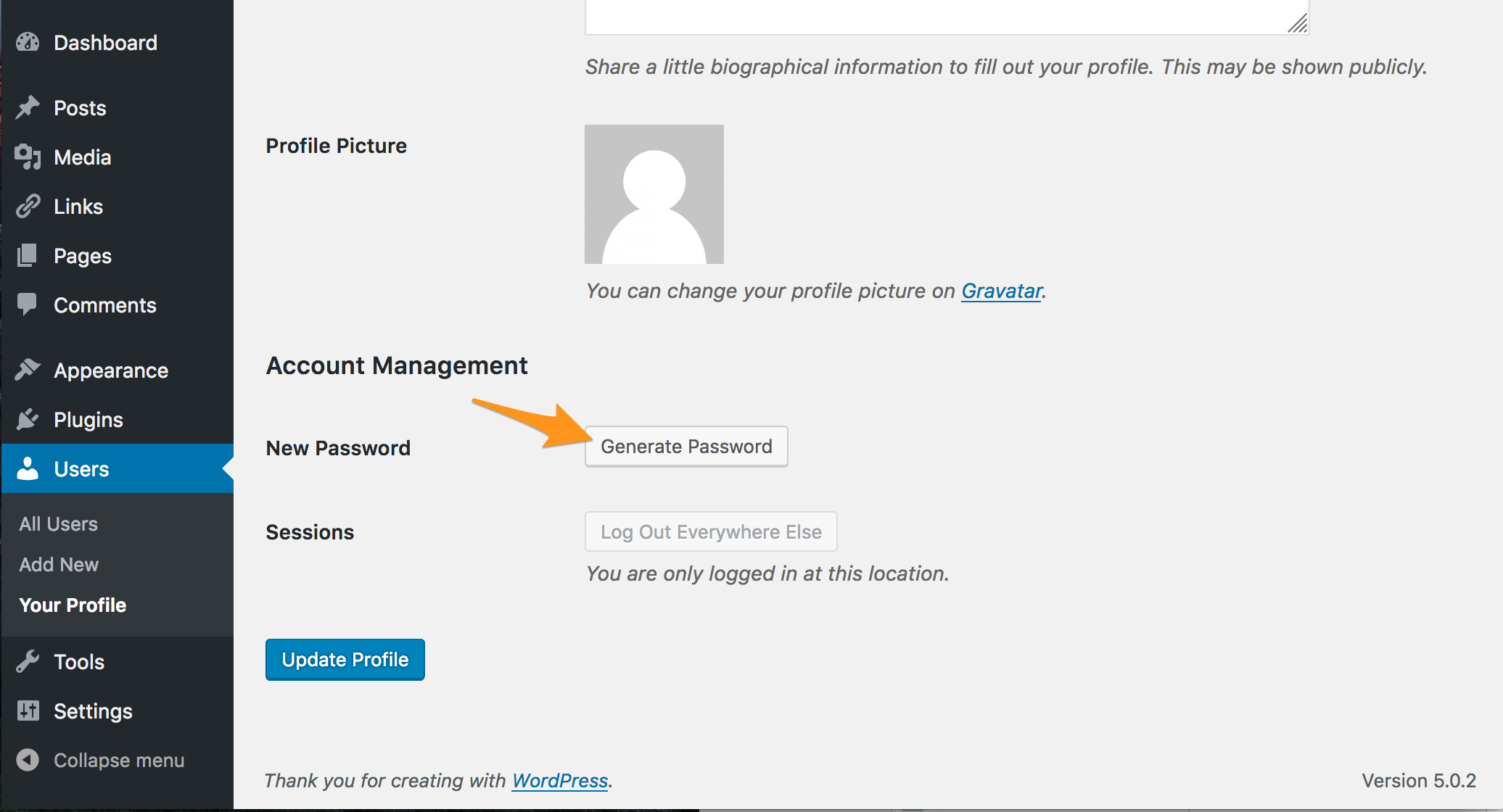 Navigate to Account Management. Then click Generate New Password.