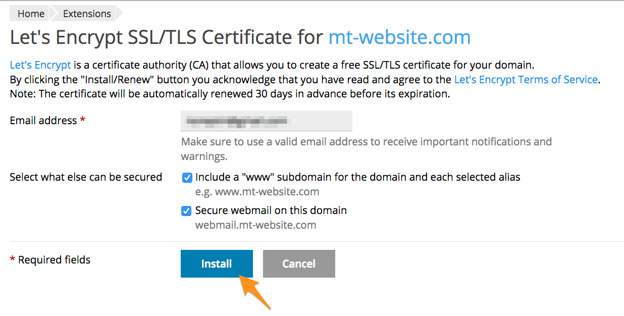 Install a Let's Encrypt SSL - Media Temple