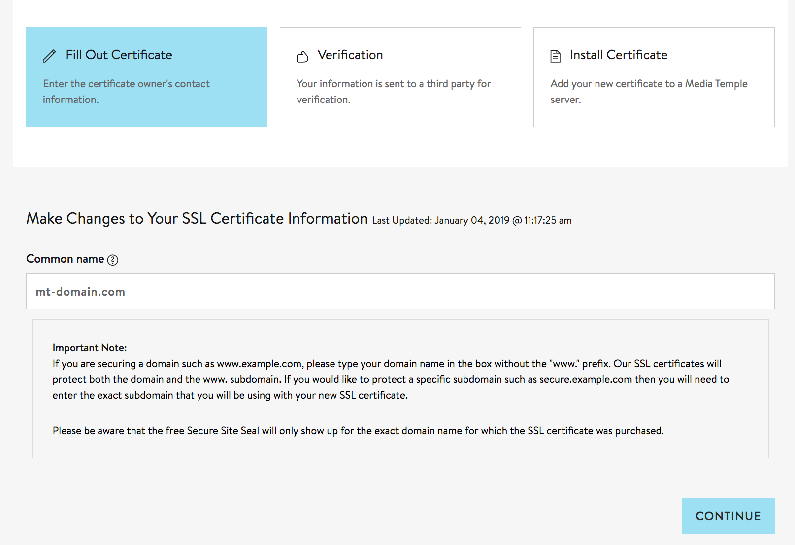Managing an SSL certificate from Media Temple - Media Temple