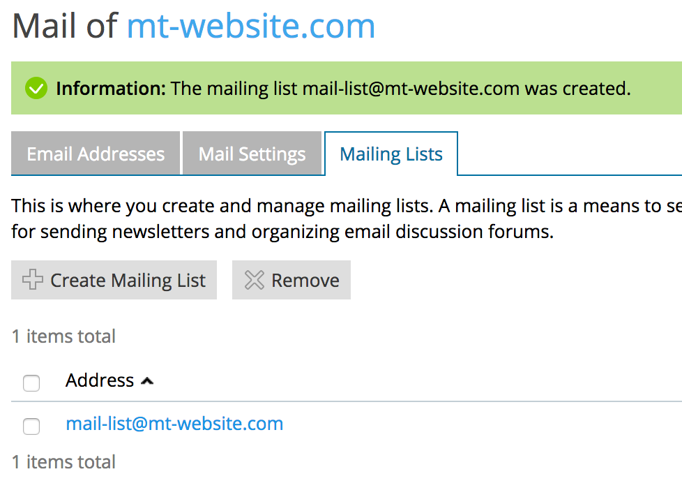 Create a Mailing List in Plesk - Media Temple